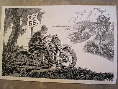1932 Harley-Davidson advert 1998 Route 66 Post Card NEW, Quik s&h!