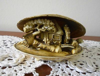 Vintage Japanese Carved Celluloid Clam Shell Water Mill Diorama 1950s