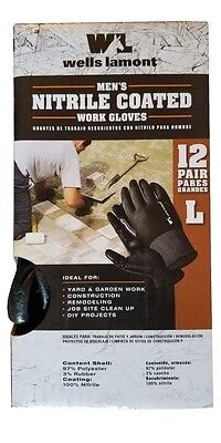 Wells Lamont Nitrile Coated Work Gloves 12 Pair Pack - Large