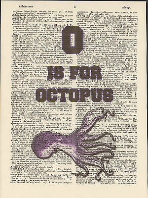 O is for Octopus Alphabet Altered Art Print Upcycled Vintage Dictionary Page
