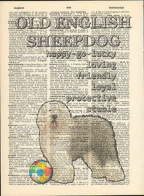 Old English Sheepdog Traits Altered Art Print Upcycled Vintage Dictionary Page