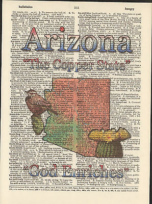 Arizona State Map Symbols Altered Art Print Upcycled Vintage Dictionary Page