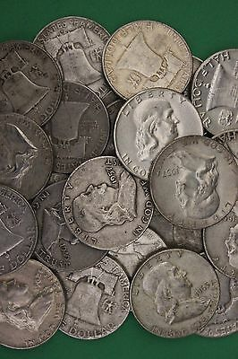 MAKE OFFER 2 Troy Ounces Ben Franklin Half Dollars Halves Junk 90% Silver Coins