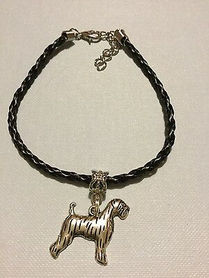NEW HANDMADE Airedale Terrier Leather Bracelet with dog charm
