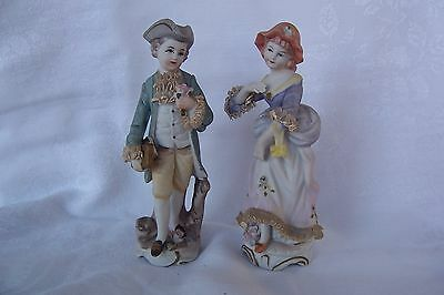 Vintage Boy and Girl - Dresden Lace and Applied Roses