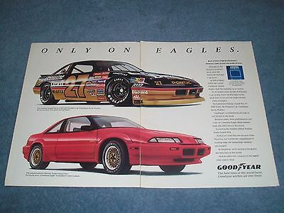 1990 Goodyear Eagle Tires Vintage 2pg Ad with Rusty Wallace #27 Pontiac