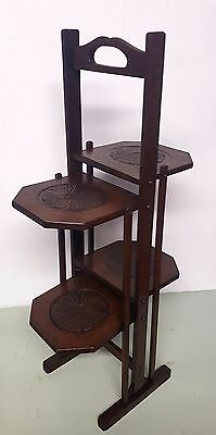 Arts And Crafts  Carved Oak Folding Cake Stand