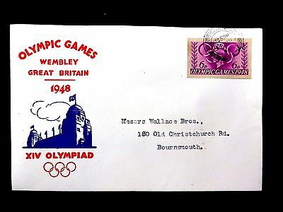 GB 1948 Olympic Games 6d Cut Out on Souvenir FDC FP8740