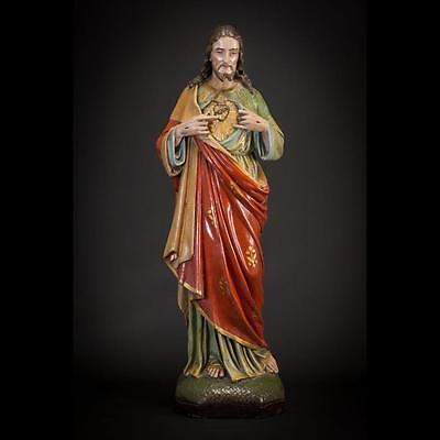 """25"""" Large Antique Plaster Statue Sacred Heart of Jesus Christ Our Lord Figurine"""