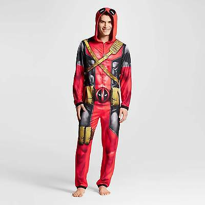Men's Deadpool Hooded Union Suits Red