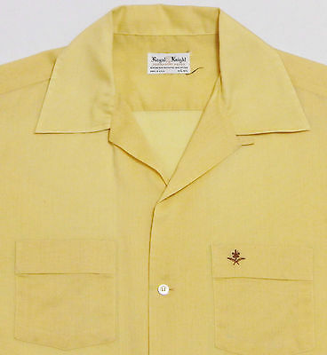 Vtg 50s 60s ROYAL KNIGHT Loop Collar S/S Shirt LARGE Yellow Arrow Rockabilly