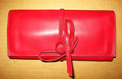 vintage RED LEATHER Travel Bag AIR FRANCE jewelry Cosmetic Clutch Airline Kit