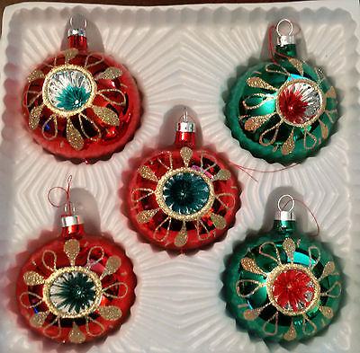 """Vintage Glass Christmas Tree Ornaments Indent 2 1/4"""" Ball - set of 5"""