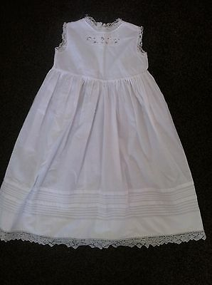 Vintage white cotton lace baby girl Edwardian christening gown summer dress