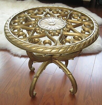 Hollywood Regency Gold Syroco Homco Plastic Round Table Vintage Midcentury 3031