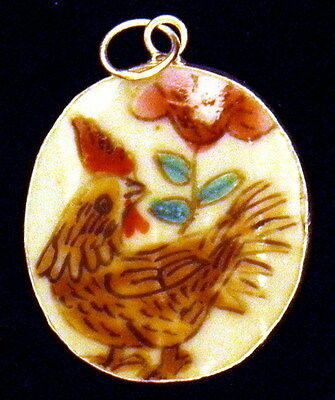 Ming/qing Dynasty Porcelain Pottery Shard Pendant~Large~Rooster