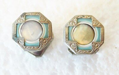 Vintage Cufflinks Silver And Mother Of Pearl Stud Type Maybe Antique Unmarked