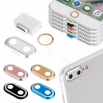 Home Button Ring Key+Charging AntiDust Plug+Camera Lens Case For iPhone 7 7Plus
