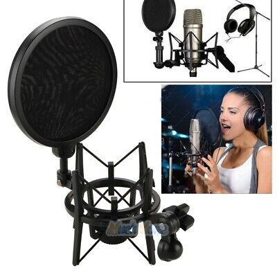 Condenser Mic Microphone Shock Mount Holder With Big Integrated Pop Filter Black