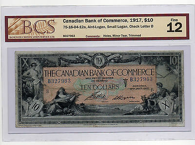 Canadian Bank Of Commerce, 1917, $10, BCS graded Fine