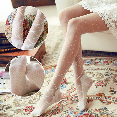 Lolita Cute Ballet Thigh High Stocking Dance Socks Sheer Bow Pantyhose Cosplay