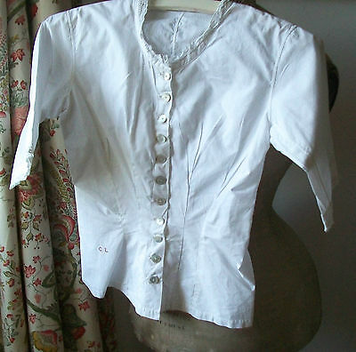 Vintage French Cotton Shirt Victorian Blouse tuck waist bodice handmade lace
