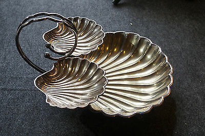"""Vintage Large Silver Plate Two Tier Three Shell Dish w/ Fish Feet 12"""" x 7 1/2"""""""