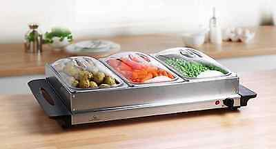 Electric Food Warmer | Buffet Server 3-Pan Stainless Steel 300W Dinner Party NEW