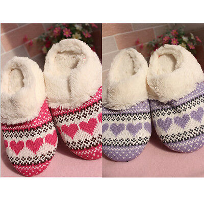 Women's Soft Fur Warm Slipper Shoes Ladies Indoor Home Slip On Flat Shoes NEW
