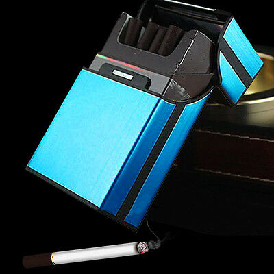 1PC Blue Aluminum Metal Tobacco Cigarette Pocket Storage Cigar Case Box Holder
