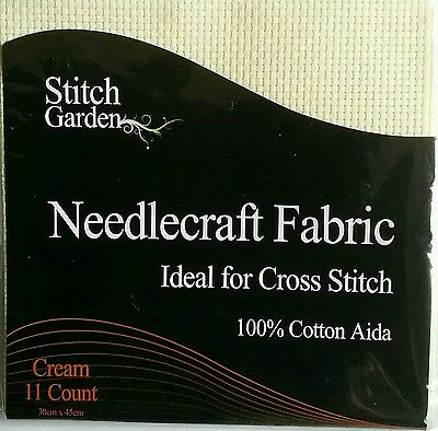 New 100% Cotton Cream Cross Stitch Embroidery Aida 11 Count 30 X 45Cms
