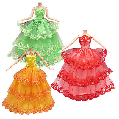 3Pcs Handmade Dolls Clothing Wedding Party Princess Dresses for Barbie Doll 29cm