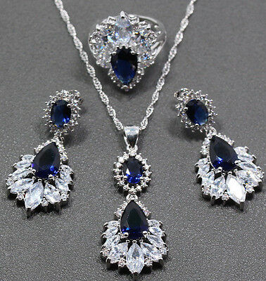 Beautiful Womens Blue Sapphire CZ 925 Silver Jewelry Set Necklace Earrings Ring