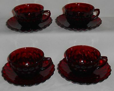 1930s-60s Set (4) Anchor Hocking ROYAL RUBY BUBBLE PATTERN Cups and Saucers