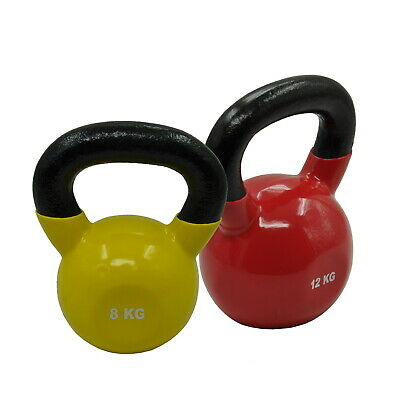 8Kg + 12Kg - Total 20Kg Iron Vinyl Kettlebell Weight Home Gymstrength Training