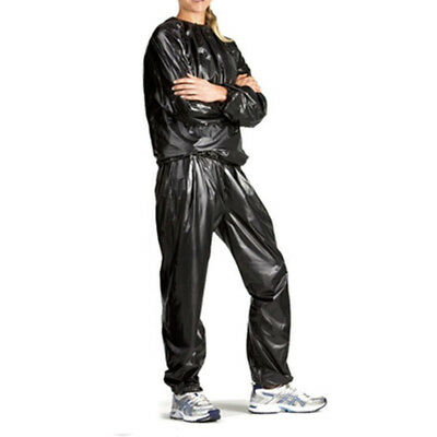 Heavy Duty Sweat Sauna Suit Exercise Gym Fitness Weight Loss Anti-Rip Black
