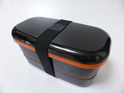 NEW!! Japanese BENTO LUNCH BOX and Belt Black 2 tier 500ml MADE IN JAPAN