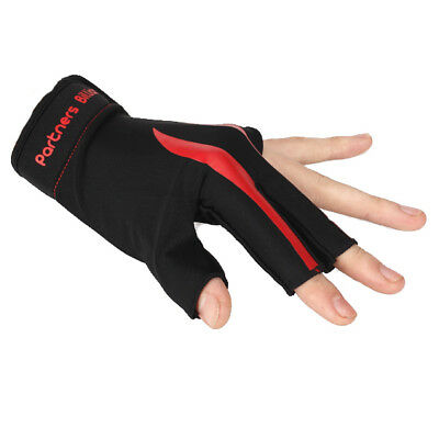 Black and Red 3-Finger Billiard Snooker Pool Cue Shooters Glove