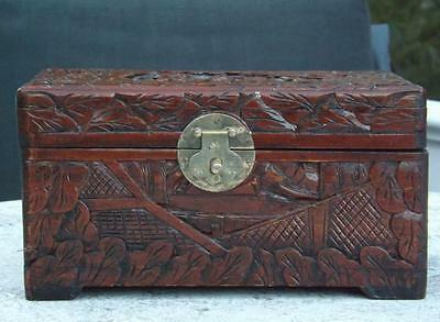 "Superb Oriental Hand Carved Wood Trinket Box 9x5x5"" EXC"