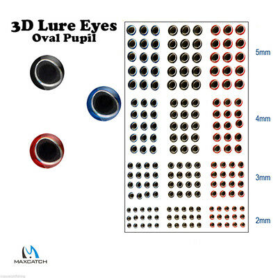 3D Fishing Lure Eyes Sticker Approx. 180Pcs Fly Tying Eyes Size 3/4/5/6mm