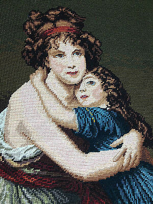 """Large Vintage Completed Needlepoint Canvas Tapestry 23""""x30"""""""