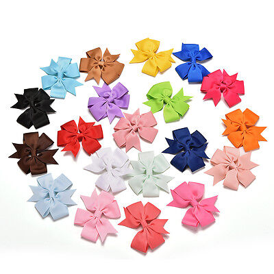20x Girl Baby Bow Hair Clip Aligator Grosgrain Ribbon Boutique Bowknot Hairpin
