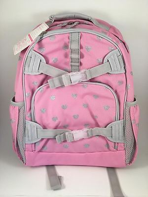 Pottery Barn Kids Mackensie Large Pink and Silver Heart Backpack NEW