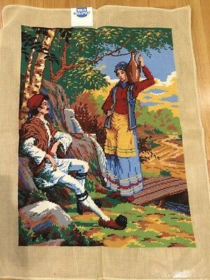 """Large Vintage Completed Needlepoint Canvas Tapestry 24"""" x 32"""""""