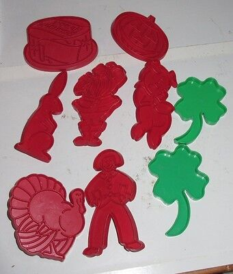 Vintage 1970's Tupperware Holidays Cookie Cutters Red Set of 9 Used Lot Cute