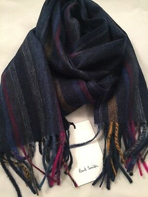 Paul Smith Men Scarf Revrs Strp Made In England 100% Lambswood