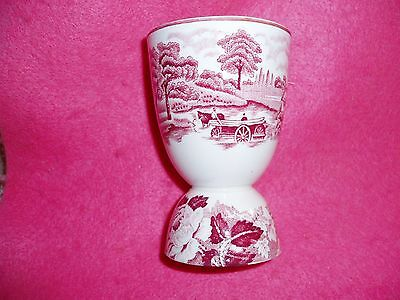 Lovely Vintage PINK & WHITE EGG CUP with Houses, Trees,Flower Design, etc.