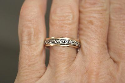 Fine Vintage 9 Ct Yellow & White Gold & Spinel Full Eternity Ring Size P 2.0 G
