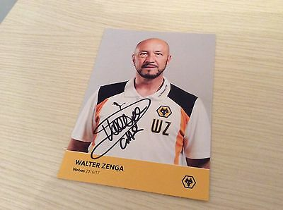 """Walter Zenga Wolverhampton Wolves hand signed official photo card 6"""" x 4"""""""