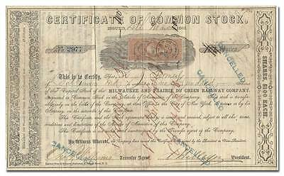 Milwaukee and Prairie du Chien Railway Company Stock Certificate (1862)